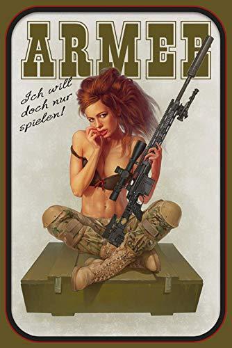 FS Pinup Military Girl leger ich Will doch nur spel metalen bord bordje gewelfd Metal Sign 20 x 30 cm