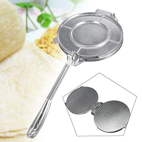 Laminadora de Masa de 7.8 Pulgadas, 20Cm Máquina de prensado de Tortillas de Alta Resistencia Harina de Metal Máquina de Tacos de maíz Aluminio Aluminio Herramienta de Cocina casera Hogar Plata