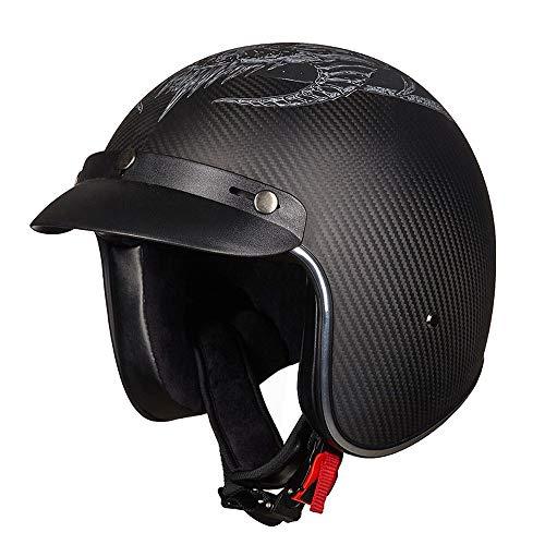 DKZK Motorradhalbhelm, Retro-Harley-Motorrad-Jethelm DOT-Zertifizierter Cruiser-Chopper-Roller-Helm 3/4 Integralhelm Integralhelm Pilotenhelm