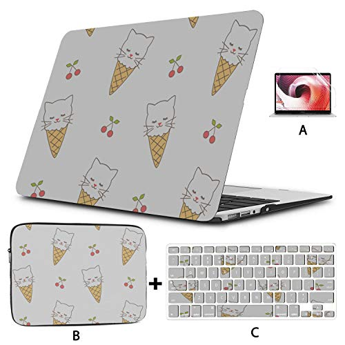MacBook Case Cute Ice Cream Cat Cartoon MacBook Pro13 Inch Case Hard Shell Mac Air 11'/13' Pro 13'/15'/16' with Notebook Sleeve Bag for MacBook 2008-2020 Version