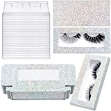 24 Pieces Glitter Empty False Eyelash Box Eyelash Packaging Box Plastic Lash Case Holder with 24 Clear Eyelash Tray and 24 Glitter Cardboard for Women Girls (Silver)