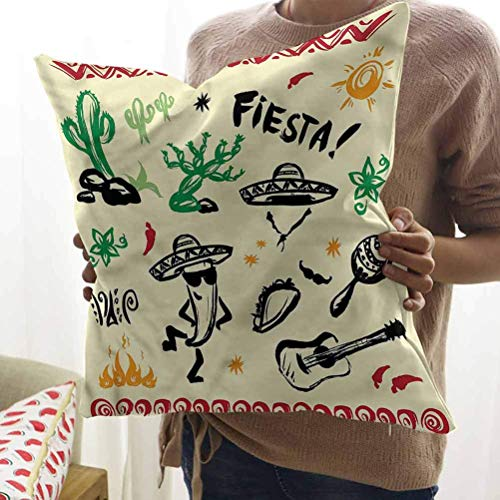 N\A Fundas de Almohada mexicanas Decorativas Taco Fiesta Funda de Almohada para Guitarra para Silla, Deco Interior