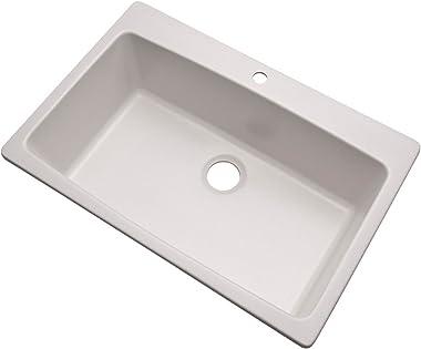 "Dekor Sinks 70100Q Northampton Composite Granite Single Bowl Kitchen Sink with One Hole, 33"", Soft White"