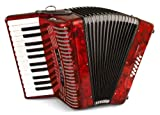 Hohner Accordions 1303-RED 12 Bass Entry Level Piano Accordion, Red...