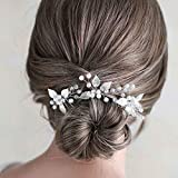 Fstrend Bridal Wedding Hair Pins Silver Crystal Bride Pearl Leaf Hair Piece Prom Party Hair Accessories for Women and Girls