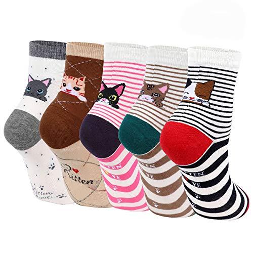 ECOMBOS Damen Socken Bunt - 4/5/6 Paar Lustige Socken Baumwoll Lässige Socken Damen Bunt Gemusterte Dressed Geschenk mit Lustiger Tiere