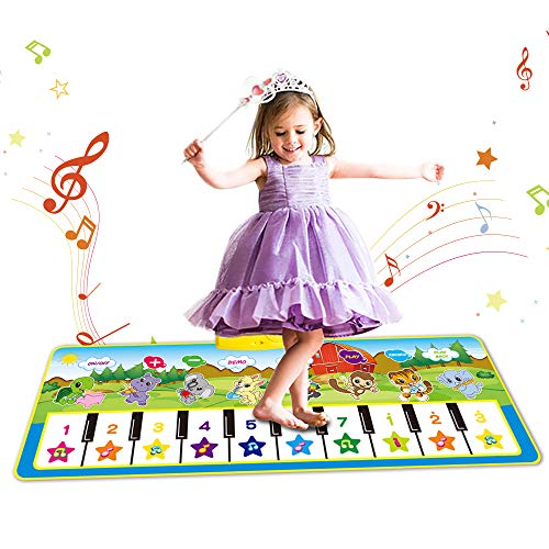 EMISK Kids Piano Mats, Toddler Music Mat with 8 Instrument Sounds for Early Learning Education, Electronic Musical Keyboard Playmat Toys Gift for Baby Girls Boys