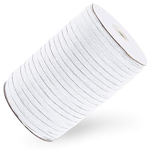 Flex Fabrics - 100 Yards Elastic Band for Sewing 1/8 inch White - High Elasticity - Braided Elastic Rope, Cord, Strap, Bungee for Handmade Making, Sewing Craft DIY Mask and Bedspread Cuff