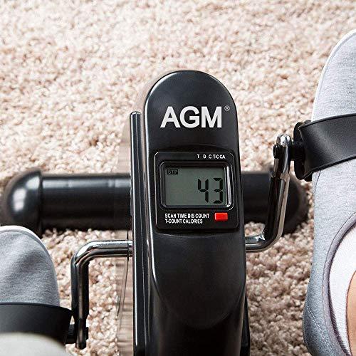 AGM Mini Vélo d'Appartement, Pédalier Pliable Pratique Léger Facile à Utiliser Ranger Pédaler Résistance Réglable écran LCD Appareil pour Travailler Les Jambes et Les Bras
