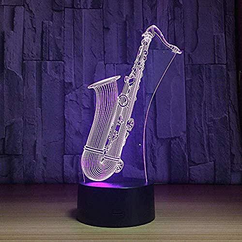 Luces de noche 3D Saxofón Musical Acrílico Led USB Lámpara de mesa Decoración Iluminación Regalo Música Amigos 7 Decoloración Lámpara de animación creativa