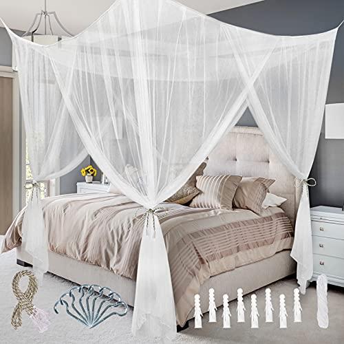 Youley Moskitonetz Vier-Eingänge Mückennetz für Bett Baldachin Bettnetz mit Aufhängeset Aufbewahrungstasche für Zuhause Reise Camping Fliegen- und Insektenschutz - 210 * 190 * 240cm Weiß