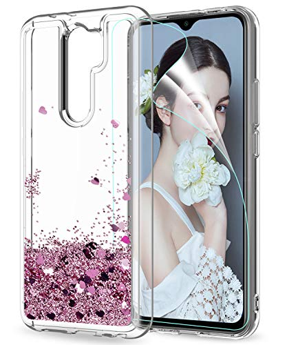 LeYi Funda Xiaomi Redmi 9 Silicona Purpurina Carcasa con HD Protector de Pantalla, Transparente Cristal Bumper Telefono Gel TPU Fundas Case Cover para Movil Redmi 9 ZX Oro Rosa