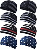 Geyoga 8 Pieces Cooling Skull Cap Sweat Wicking Liner Running Beanie Cycling Cap Under Hard Hat Liner for Men and Women Sports Outdoor Exercise