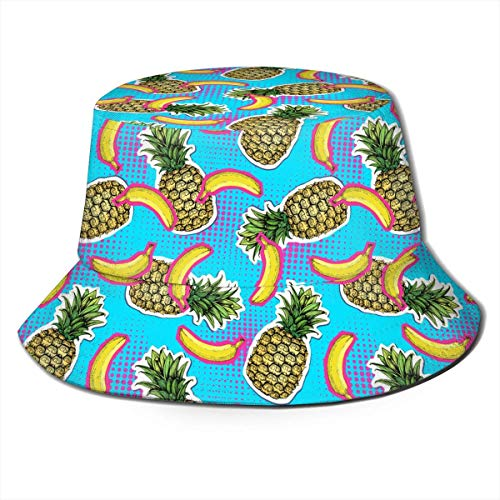 Tedtte Blue Banana Pineapple Fruit Print Eimer Hut Fisherman Fishing Sun Cap Unisex