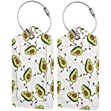 HHFASN Avocado Jump Rope Exercises 2-Pack Luggage Tags Funny Travel Tags, PU Leather Name ID Labels with Privacy Cover for Travel Bag Suitcase