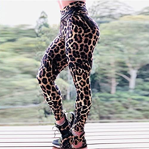 Mallas Push Up Mujer,Mujer Vintage Marrón Estampado De Leopardo Sexy Clásico Cintura Alta Gimnasio Leggings Deportivos Para Control De Barriga Correr Entrenamiento Medias De Compresión Pilates Es
