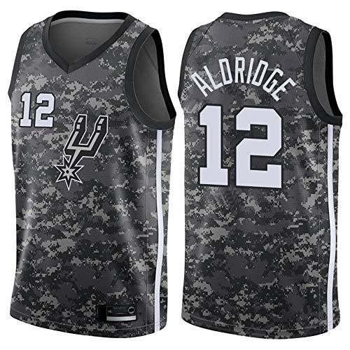 SHR-GCHAO Maglia da Basket Maschile - San Antonio Spurs # 12 Lamarcus Aldridge, Maglia Ricamata NBA Jersey di Basket, 100% Poliestere,Nero,XL(180~185cm)