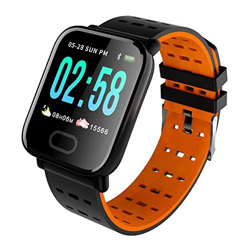 KawKaw Smartwatch Generation X Für Damen Herren & Kinder Mit Fitness Activity Tracker Health Armband Schrittzähler Pulsuhr Wasserdicht Blutdruck - Sport Uhr Für iOS Android & Whatsapp (Schwarz/Orange)