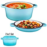 Heavy Duty Pre-Seasoned 2 In 1 Cast Iron Double Dutch Oven Set and Domed 10 inch Skillet...