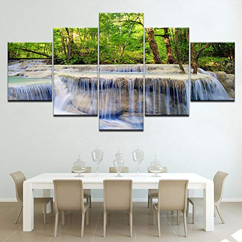 WHOOPS Frest Wasserfall Landschaft 5 Stück Leinwand Tapeten Mdern Mdular Pster Art Leinwand Fr Living Rm Hme Decr 30 * 40 * 2 30 * 60 * 2 30 * 80Cm Frameless