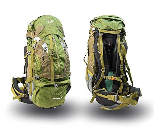 RSonic H2O Wanderrucksack | Reiserucksack | Alu Schnienensystem | Höhenverstellbar (S - M - L) | 75 Liter | Wasserdicht | Trekkingrucksack | Campingrucksack | inkl. Regenschutz | Grün