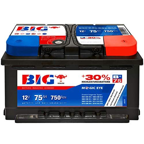 Autobatterie 12V 75 Ah 750A BIG Silber Plus 30{b164a471c6efffeb2cb8c6480048e1cac691381fc100e4ef59711b23ec87f320} PKW Batterie statt 70Ah 72Ah 74Ah