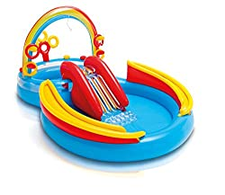Approximate inflated size 117 x 76 x 53 Inch (297 x 193 x 135 cm) Centre includes water slide, wading pool, main pool, water sprayer, ring toss game (with four inflatable rings) Water sprayer attaches to garden hose to keep kids cool in summer