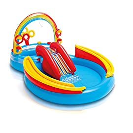 """Intex Rainbow Ring Inflatable Play Center, 117"""" X 76"""" X 53"""", for Ages 2+ 17 Center includes water slide, wading pool, water sprayer, ring toss game (with 4 inflatable rings) Water sprayer attaches to garden hose to keep kids cool in summer Water capacity: 77 gallons."""