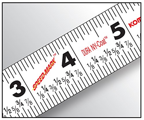 Komelon SM5425 Speed Mark Gripper Acrylic Coated Steel Blade Measuring Tape, 1-Inch X 25Ft , White