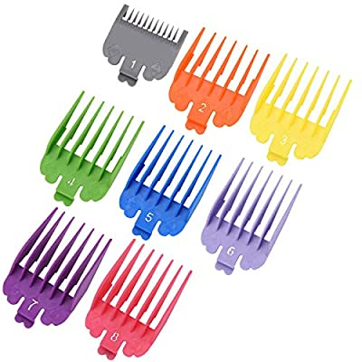 Phoetya Professional Hair Clipper Guide Combs Set of 8, Colorful Limit Comb Set for Most Electric Clippers Trimmers, Replacement Clipper Attachments, Haircut Accessories (3-25mm)