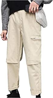 Mogogo Men's Fit Cargo Pants Plain Teenagers Casual Trousers with Pockets