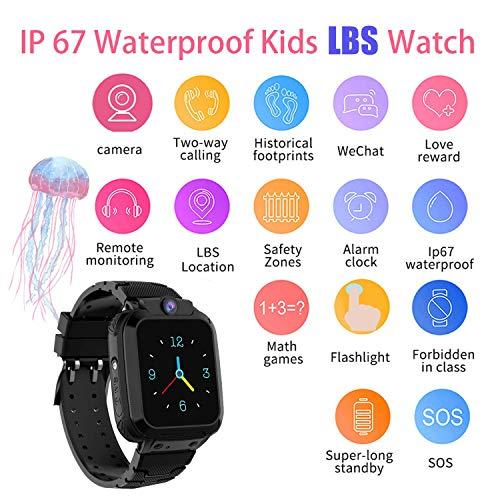 Kinder Intelligente Uhr Wasserdicht, Smartwatch LBS Tracker mit Kinder SOS Handy Touchscreen Spiel Kamera Voice Chat Wecker für Jungen Mädchen Student Geschenk (S102 Schwarz)