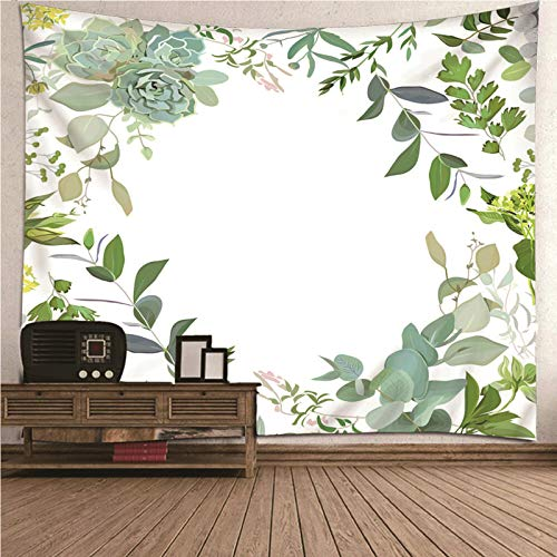 Aimsie Tapiz de pared, diseño de flores para habitación infantil, poliéster, 200 x 200 cm, color verde y blanco