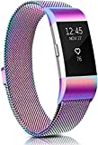 Meliya Metal Bands Compatible with Fitbit Charge 2, Stainless Steel Magnetic Lock Replacement Wristbands for Fitbit Charge 2 Women Men Small Large (Small, Colorful)