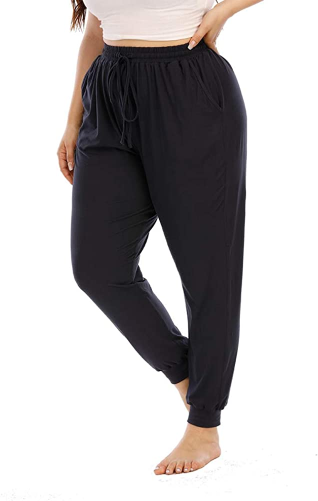 Gboomo Womens Plus Size Lounge Pants Casual Stretchy Drawstring Jogger Ankle Length Loose Pants with Pockets
