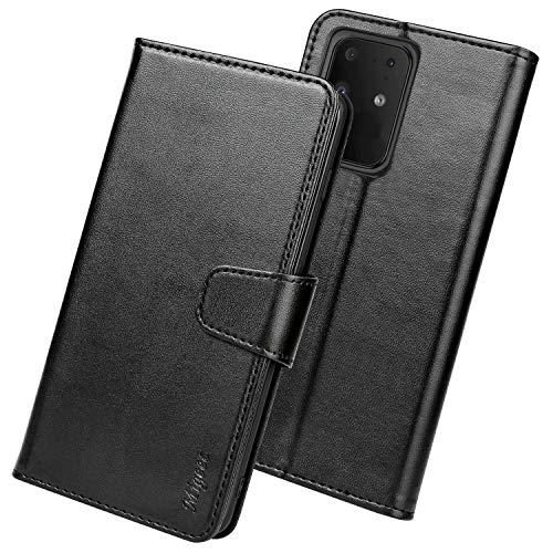 Migeec Handyhülle Kompatibel mit Samsung Galaxy S20 Ultra 5G Leder Hülle Tasche Flip Cover Schutzhülle - Schwarz