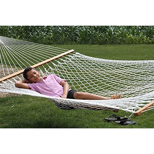 """The Garden Hammocks4ft(48"""") wide x 11ft(132"""") overall length, comfortable, sleeping, organic(GOTS) cotton rope hammock single, without stand, FSC wood bars, 250 lbs weight capacity"""