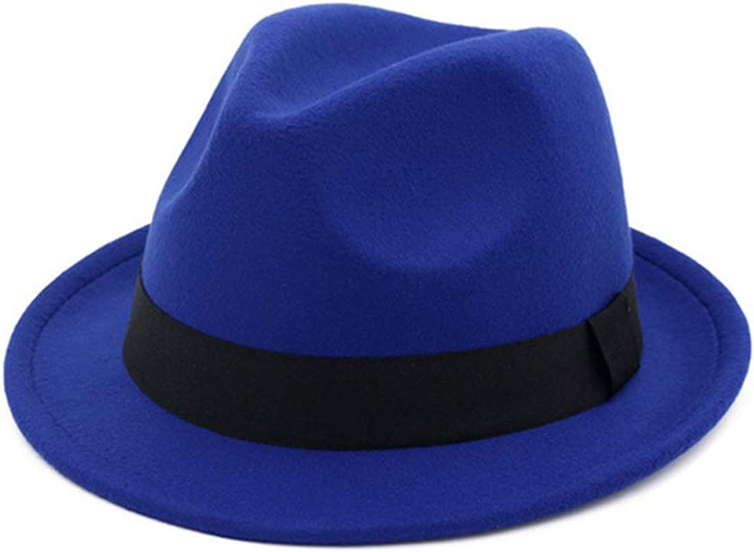 F FADVES Jazz Cap for Men Women Short Brim Trilby Fedora Felt Hats Vintage Spring Autumn