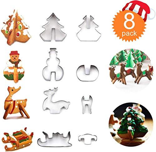 JoGoi Set di 8 Formine per Biscotti Natale Stampi Muffa Biscotti Cutters Acciaio Inox per Bambini DIY Decorazioni Dolci Biscotti Pasta Zucchero Cottura