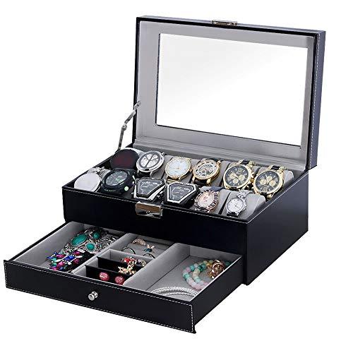 SOUKENGEN腕時計収納ケース12本用収納ボックスジュエリーボックス2段式アクセサリー高級ウォッチコレクションケースPUレザー製SKG-BH03
