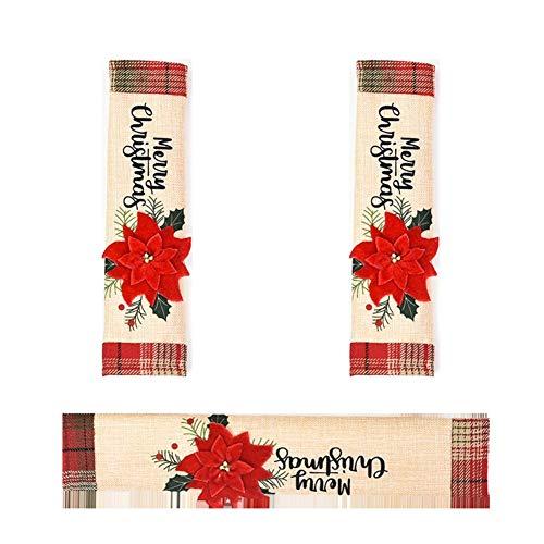 WSTERAO Juego de decoración de Nevera de Navidad, Cubiertas de manijas de Puerta, electrodomésticos de Cocina, microondas, Horno, lavavajillas, manija, Cubierta para decoración navideña