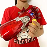 JaCos Iron Man Infinity Gauntlet Iron-Man Infinity Glove with LED Stones Light Up Halloween Costume Toy for Kids Red