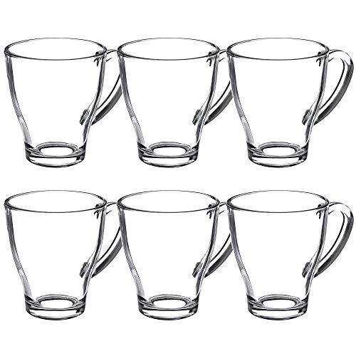 KADAX Teegläser, 6er Set, Gläser mit Griff, Wassergläser, Saftgläser, Glastassen, Gläserset für Tee, Kaffee, Wasser, Drink, Eistee, Saft, Garten, Trinkgläser, spülmaschinenfest (Afra, 280ml)