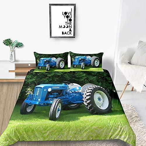 Funda nordica 220 x 260 Tractor Azul Ropa de cama1 Polialgodón 50% poliéster 50% algodón fácil Cuidado Juego de Funda de edredón con 2 Fundas de Almohada 50x75cm