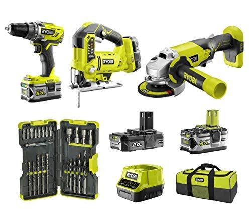 Ryobi Vorteilspaket bestehend aus Stichsäge, Bohrschrauber, Winkelschleifer, Akkus, Ladegerät und Tasche