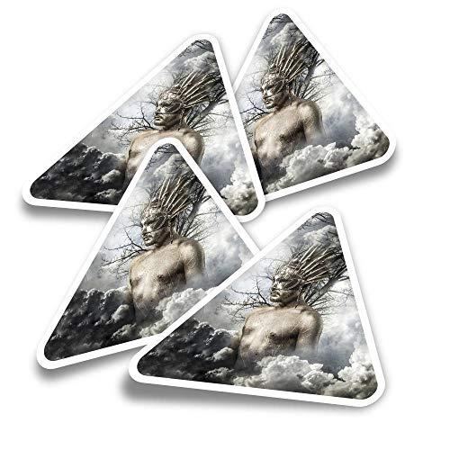Pegatinas triangulares de vinilo (juego de 4) – Gladiator Helmet Body Greek God Fun Calcomanías para ordenadores portátiles, tabletas, equipaje, reserva de chatarra, neveras #16536