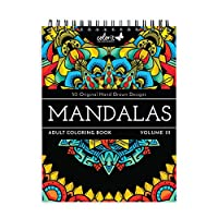 ColorIt マンダラIII 大人用塗り絵ブック - 50片面デザイン、厚く滑らかな用紙、平面に敷いたハードカバー、スパイラル綴じ、米国印刷、カラーマンダラページ。