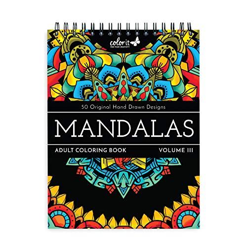 ColorIt Mandalas III - Libro da colorare per adulti, 50 disegni su un lato, carta spessa e liscia, copertina rigida piatta, rilegatura a spirale, stampa USA, mandala a colori