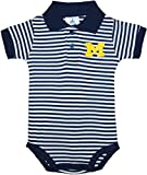 University of Michigan Wolverines Block M Newborn Striped Polo Bodysuit Navy 0-3 Months