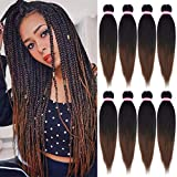 8 Packs Pre-stretched Braiding Hair Extensions Professional Easy Crochet Braids Yaki Texture Perm Fiber Hot Water Setting Natural Black Mix Brown Synthetic Hair for Twist Braids (20Inch, 1B/30#)